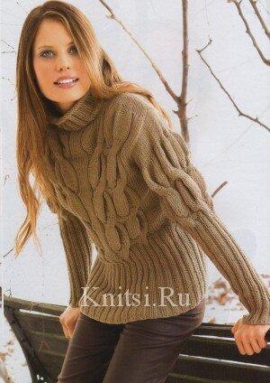 Пуловер с косами и пышными рукавами
