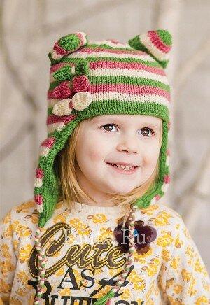 Детская вязаная шапочка в полоску