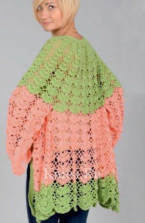 Розово-зеленый вязаный жакет