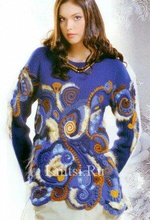 Синий свитер-туника