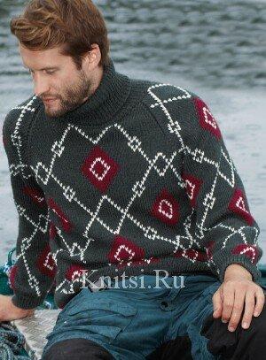 Мужской свитер с высоким воротником