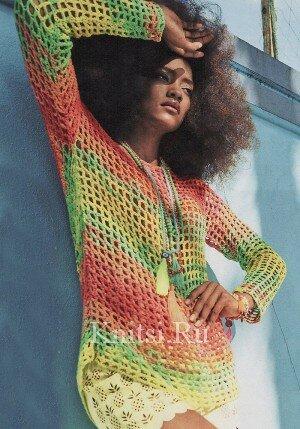 Сетчатый радужный пуловер